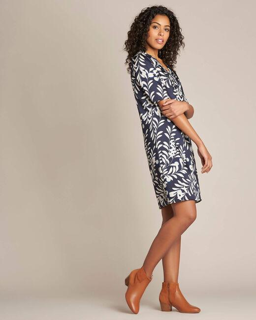 Marineblaues Kleid mit Blätter-Print Power (2) - 1-2-3