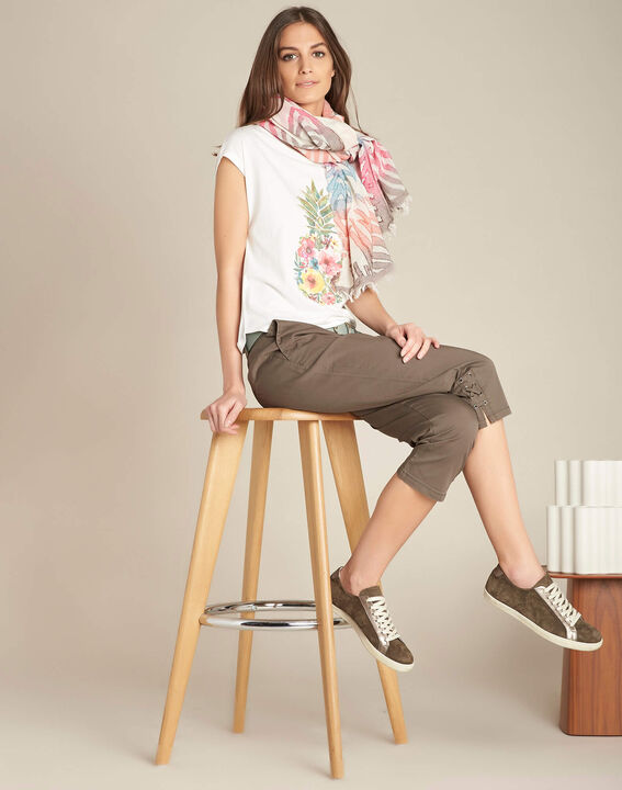 Jamy khaki cotton cropped trousers with lacing (2) - 1-2-3