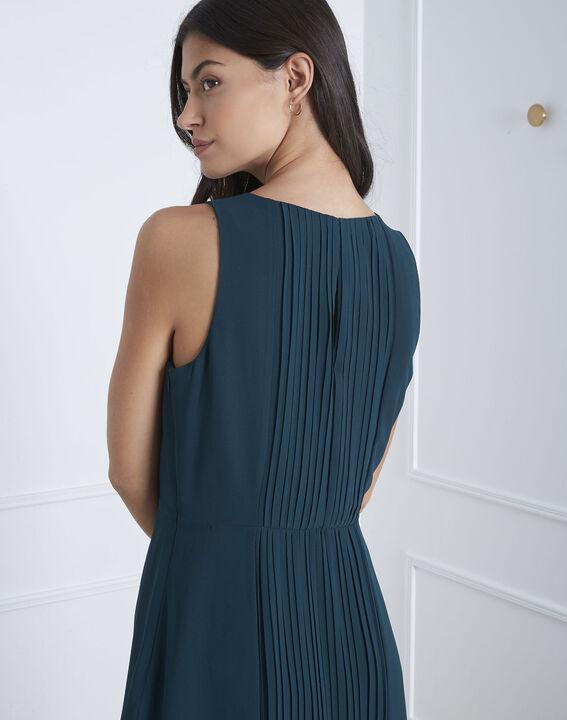 Langes, plissiertes, dunkelgrünes Kleid Isabella (4) - Maison 123