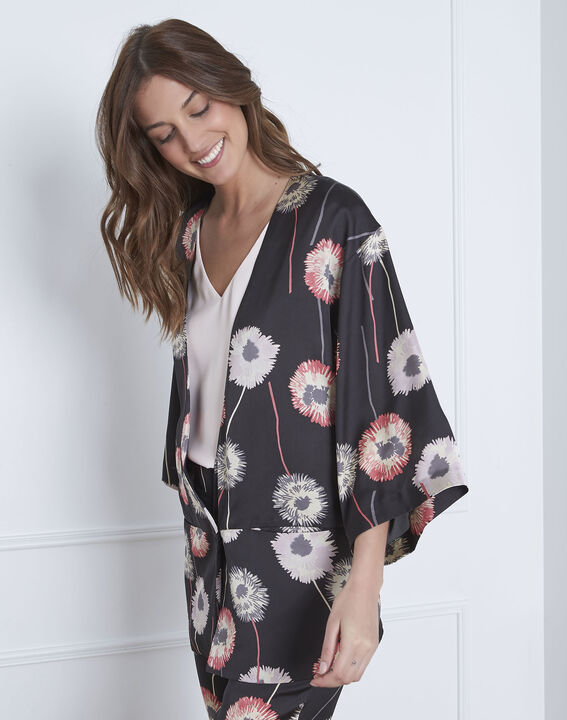 Kimono noir imprimé fleuri effet satin Flore (1) - Maison 123