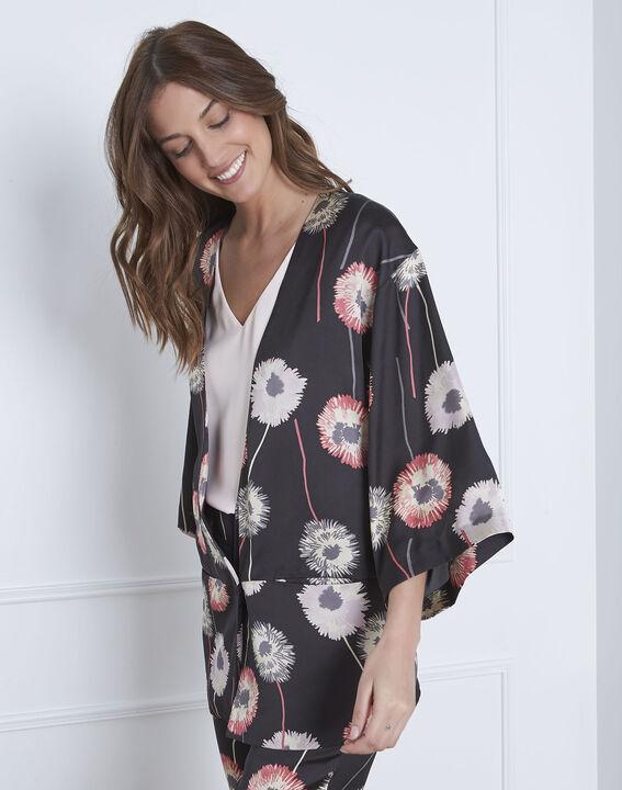 Kimono noir imprimé fleuri effet satin Flore PhotoZ | 1-2-3