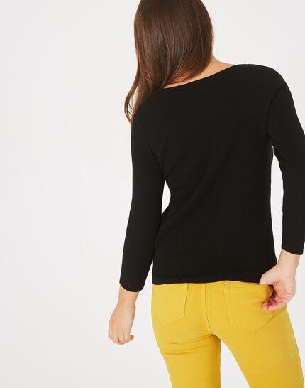 Pluie black sweater with diamante and round neck (4) - 1-2-3