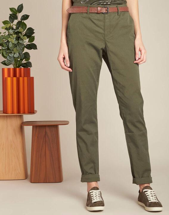 Francis slim-cut cotton 7/8 length trousers in khaki (3) - 1-2-3