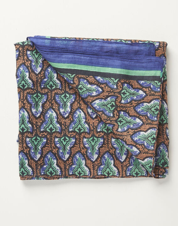 Amelia navy blue printed ottoman cotton scarf (2) - 1-2-3