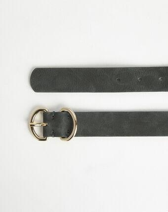 Roxana velvet-effect wide green leather belt dark green.