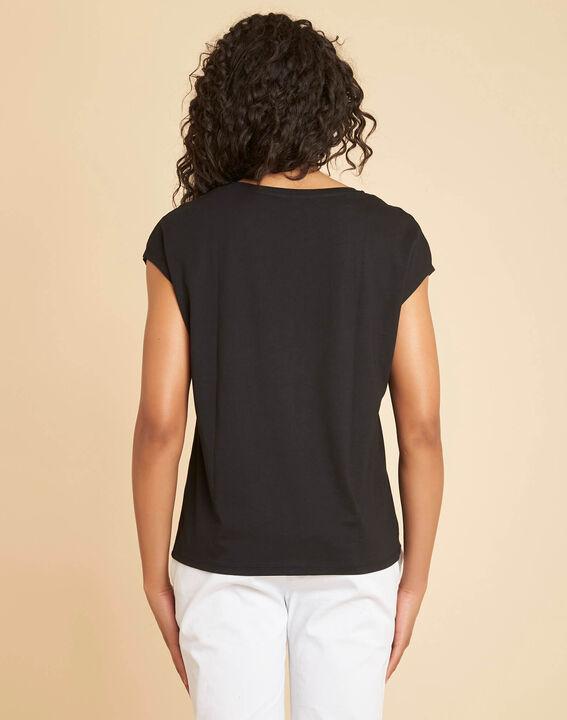 """Schwarzes T-Shirt mit """"Chic""""-Schriftzug Emilia (4) - 1-2-3"""