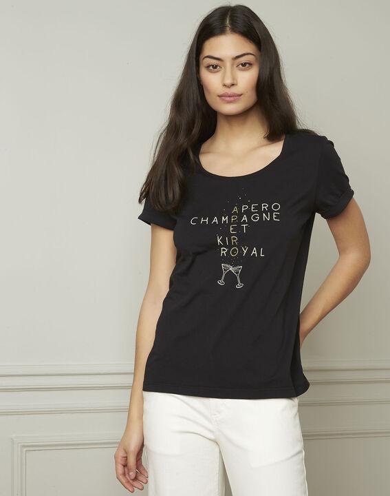 Tee-shirt noir sérigraphé Gala (1) - 1-2-3