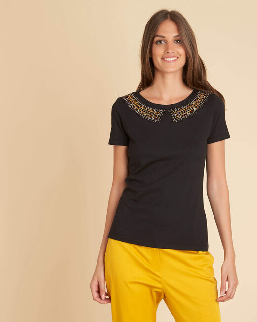 Tee-shirt noir encolure fantaisie Ethnique (2) - 1-2-3