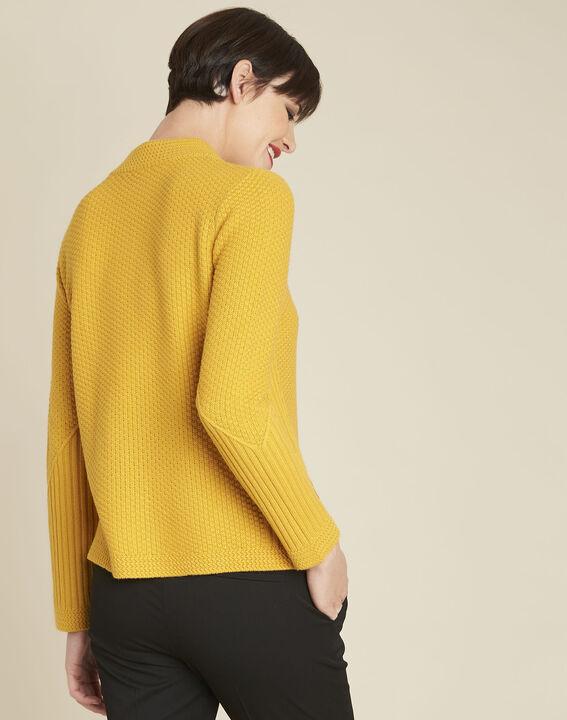Pull jaune col montant laine mélangée Brindille (4) - 1-2-3