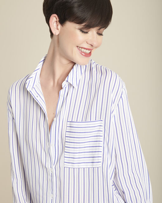 Darwin white lace blouse with violet stripes (1) - 1-2-3