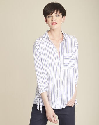 Darwin white lace blouse with violet stripes white.