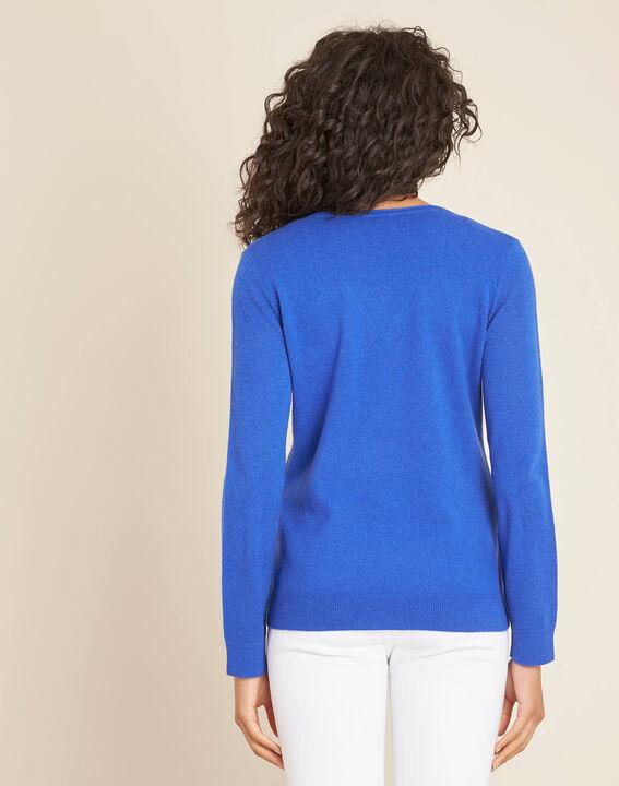 Koningsblauwe trui van kasjmier met V-hals Pivoine (4) - 37653