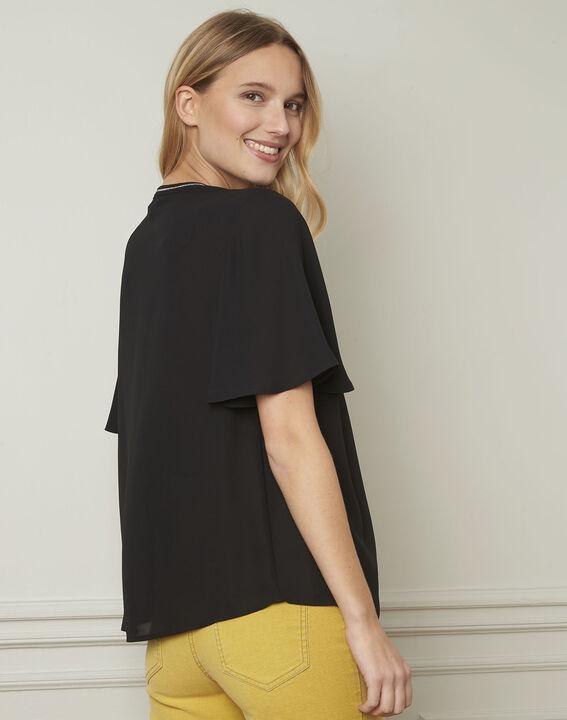 Zwarte blouse met fantasiedetails Vitali (3) - Maison 123