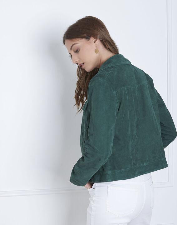 Veste verte poches plaquées cuir velours Frisbee (4) - Maison 123
