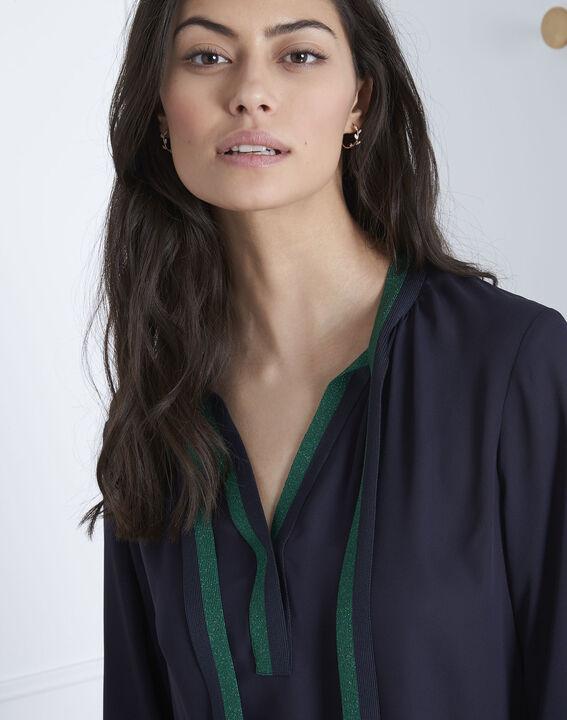 Marineblauwe blouse met contrasterende details Vicky (3) - Maison 123