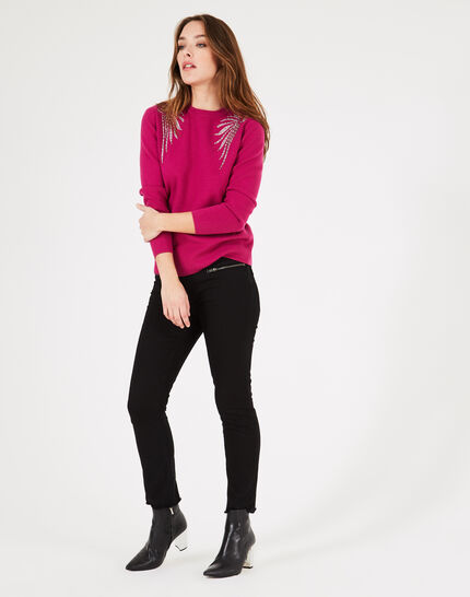 Pullover mit Flügel-Stickereien in dunklem Fuchsia Prince (1) - 1-2-3
