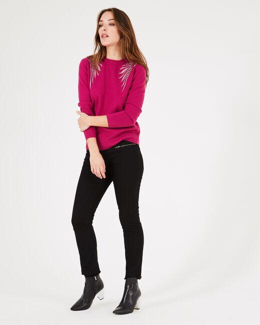 Pullover mit Flügel-Stickereien in dunklem Fuchsia Prince (2) - 1-2-3