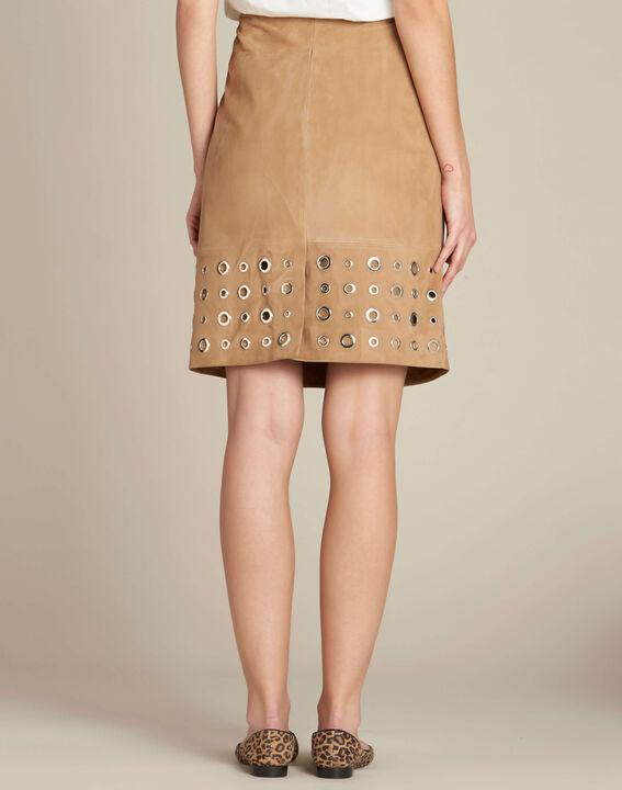 Lilou beige suede skirt (4) - 1-2-3