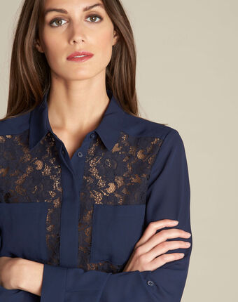 Diane navy blue lace blouse navy.