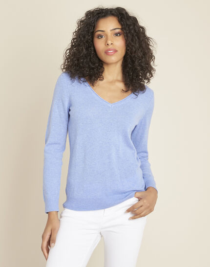 Pivoine blue V-neck sweater in cashmere (1) - 1-2-3