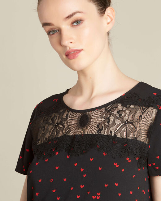 Go black heart printed top with lace (1) - 1-2-3
