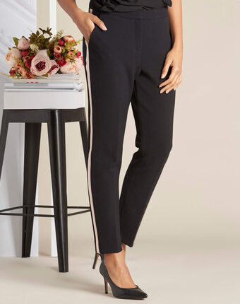 Vadim two-tone black fitted trousers black.