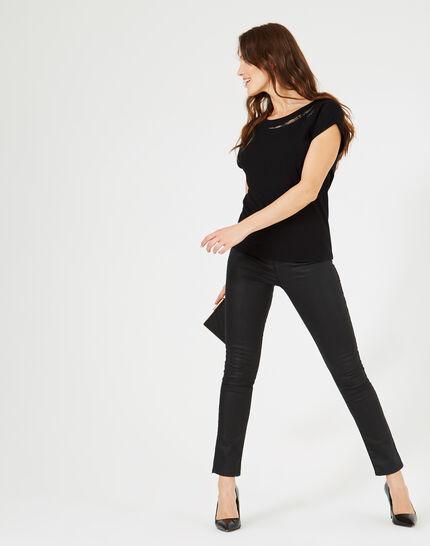 Schwarzes T-Shirt mit Swarovski-Kristallen Boussole (1) - 1-2-3