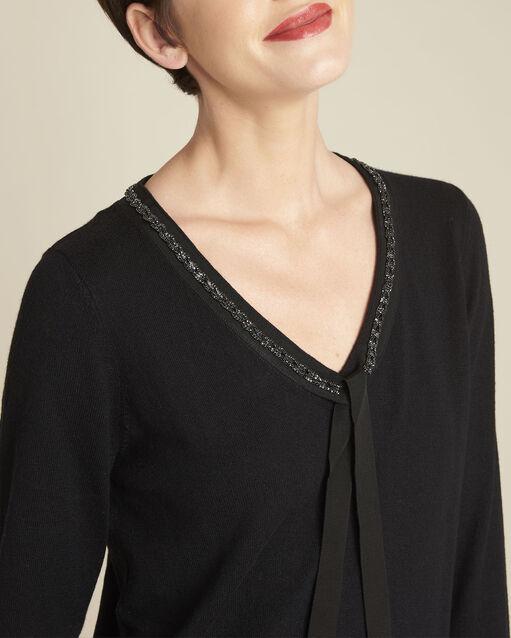 Pull noir encolure fantaisie laine mélangée Beverly (2) - 1-2-3