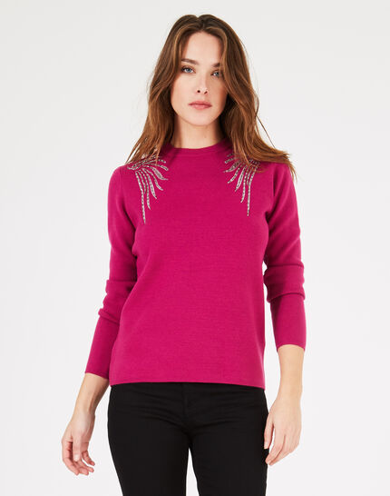 Prince dark fuchsia sweater with embroidery (2) - 1-2-3