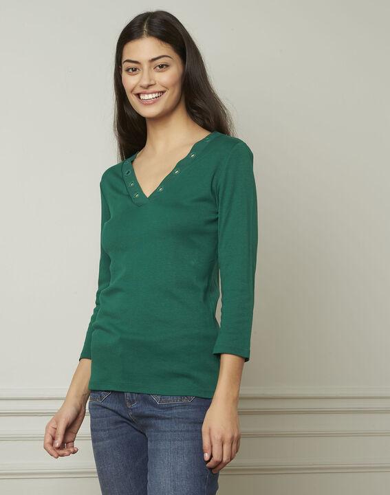 Tee-shirt vert encolure V à oeillets Basic PhotoZ   1-2-3
