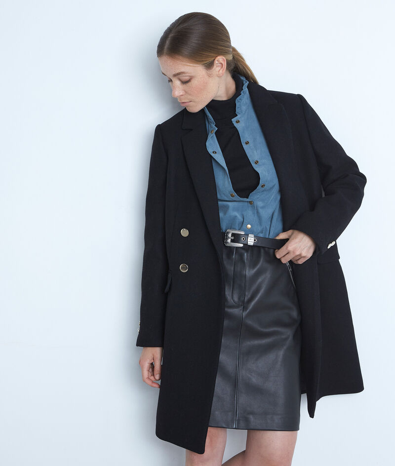 Gerader Mantel aus recycelter Wolle schwarz mit goldfarbenen Knöpfen Lorine PhotoZ | 1-2-3