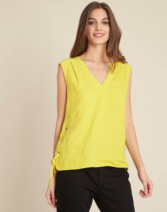 Gelbes Leinen-T-Shirt mit Schnüren Gally (3) - 1-2-3