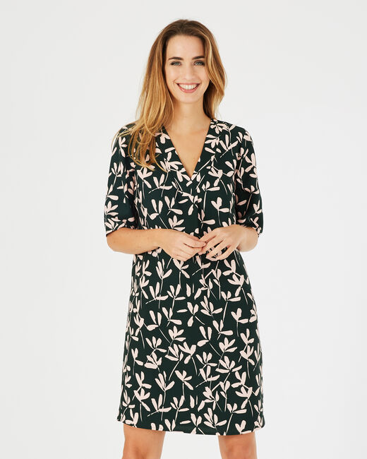 Dowen olive green printed dress <br /> (1) - 1-2-3