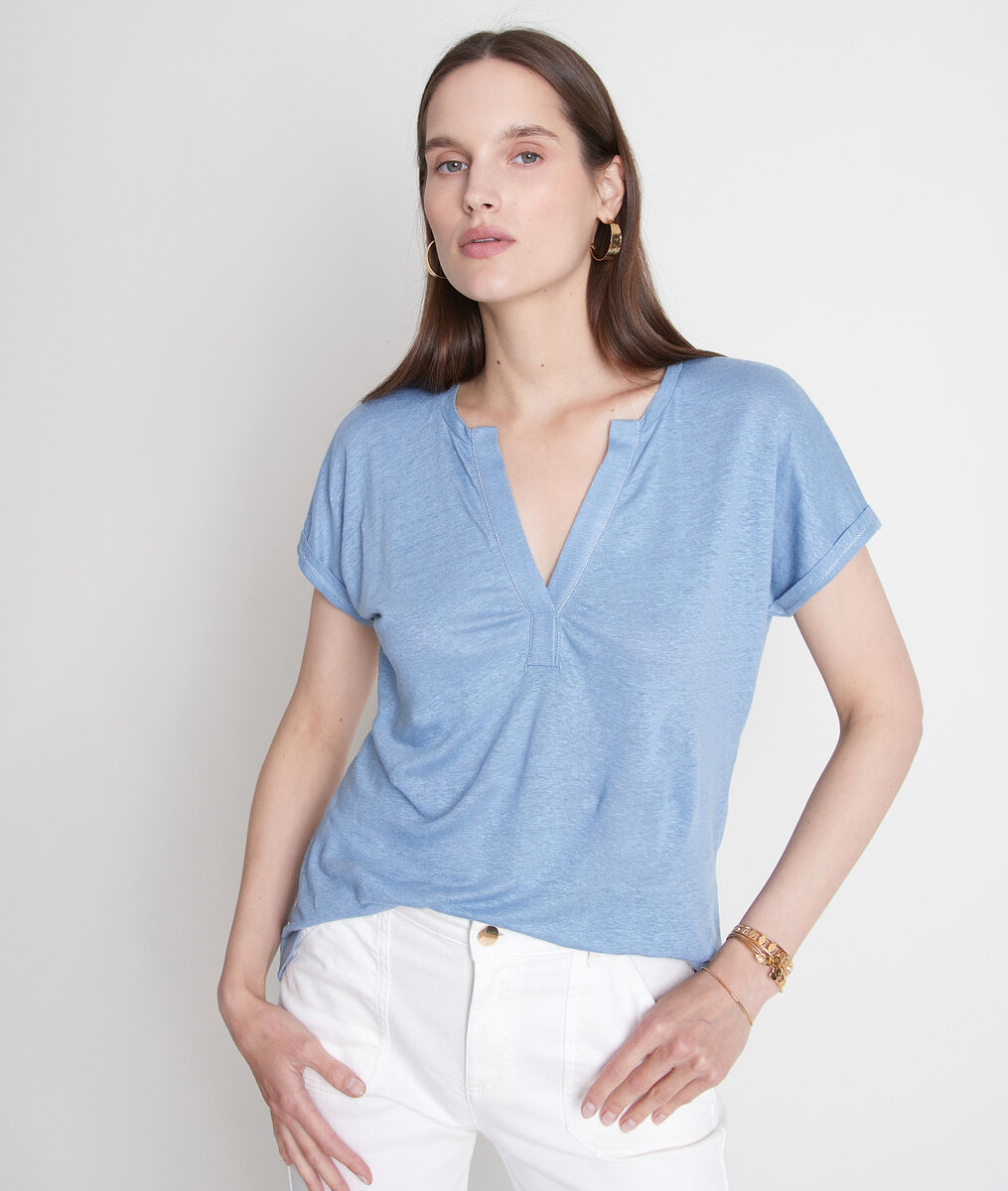 Tee-shirt en lin responsable certifié bleu ciel Ilaria PhotoZ | 1-2-3