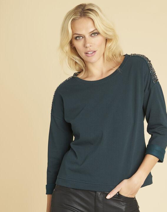 Donkergroene sweater met sieraaddetails aan de schouders Glow PhotoZ | 1-2-3
