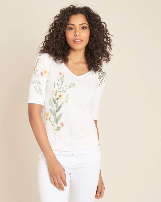 Pull blanc imprimé fleuri Nouette (2) - 1-2-3