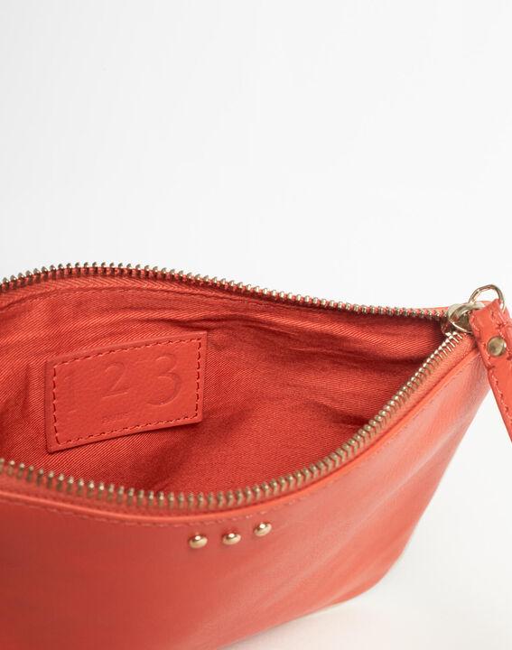 Rote Leder-Clutch mit Riemen Droopy (5) - 1-2-3