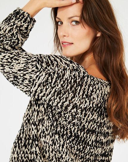 Schwarz-weißer Pullover aus grobem Strick Bico (2) - 1-2-3