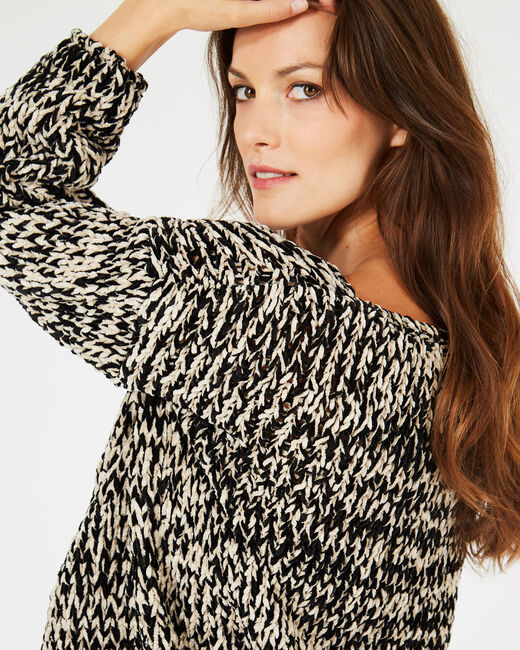 Schwarz-weißer Pullover aus grobem Strick Bico (1) - 1-2-3