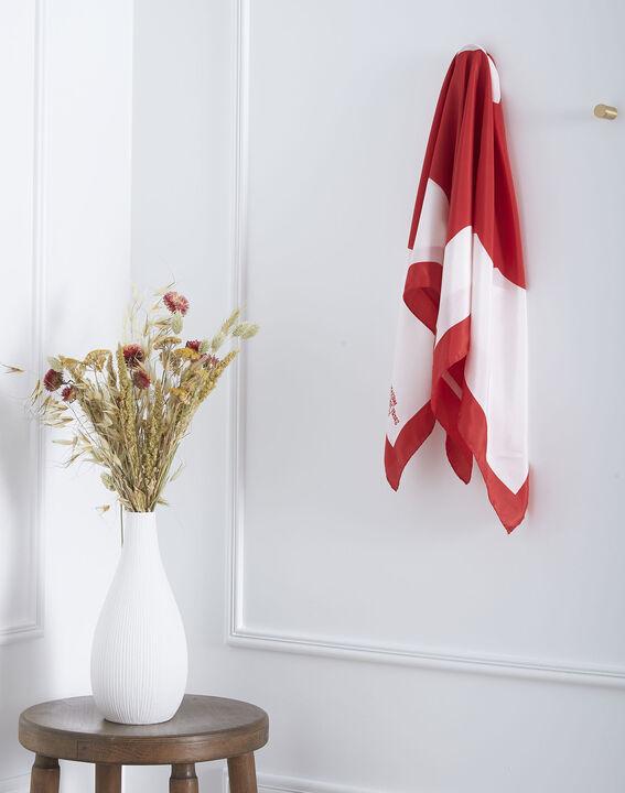 Carré de soie rouge imprimé floral Ollie PhotoZ   1-2-3