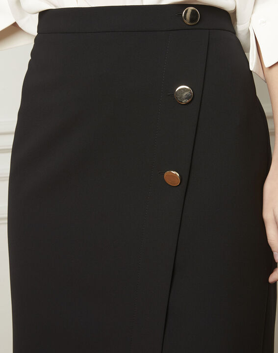 Sabine black skirt with microfibre buttons (4) - Maison 123
