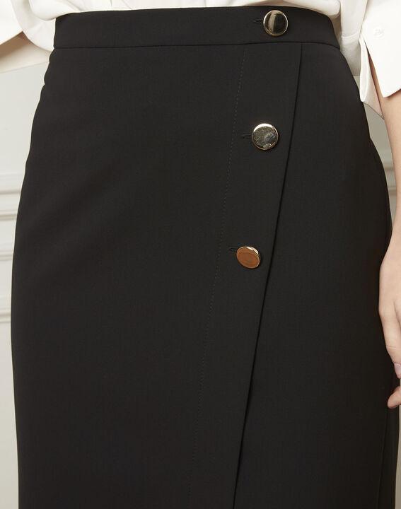 Jupe noire portefeuille à boutons microfibre Sabine (4) - Maison 123