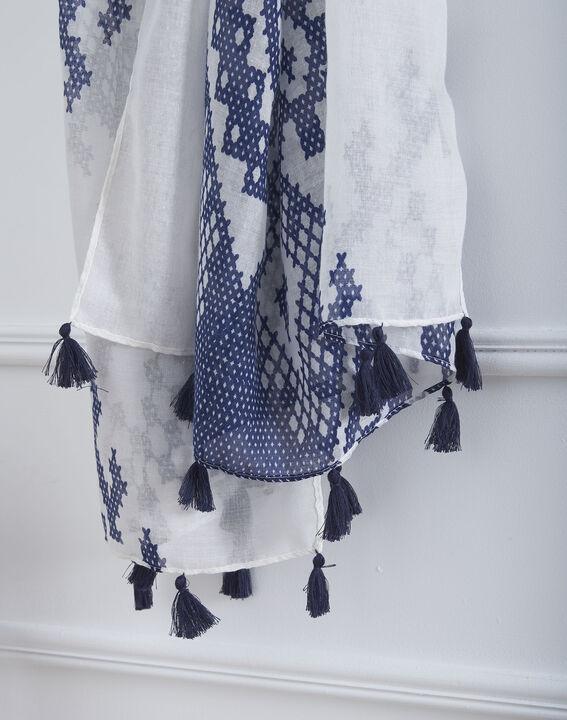 Foulard bleu imprimé à pompons Oriane (2) - Maison 123