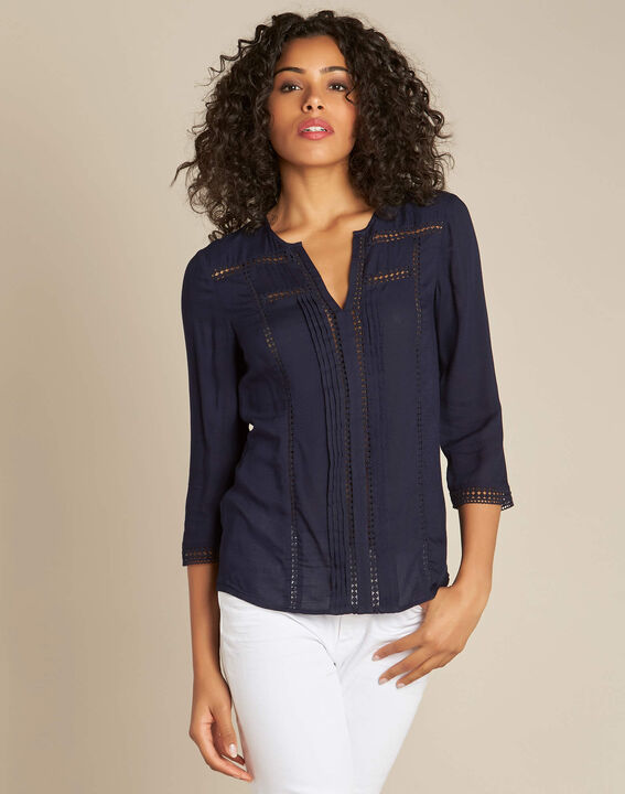Graziella navy blue blouse with guipure detailing (3) - 1-2-3