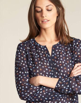 Guilene navy blue heart printed blouse navy.