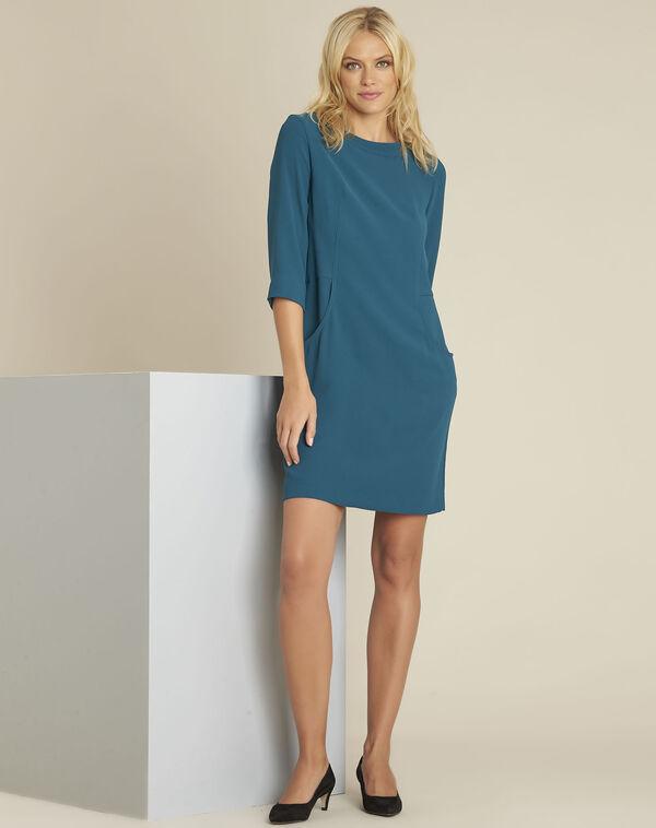 Groene jurk met zakken van crêpe Douda (2) - 37653