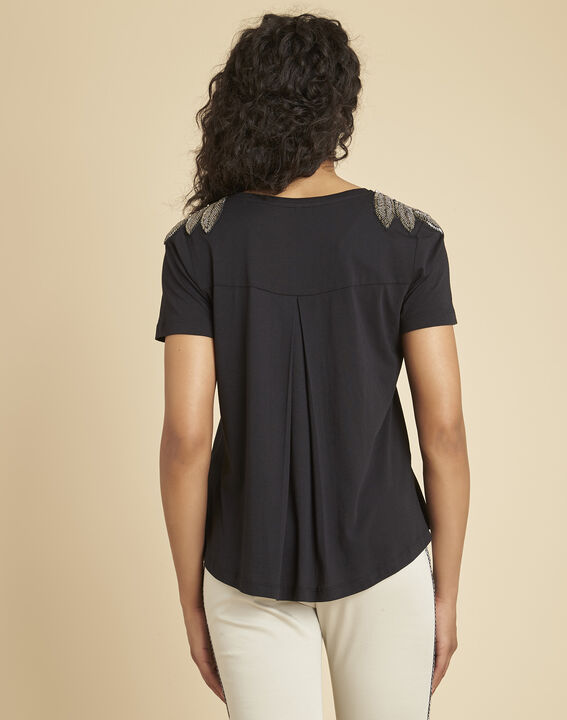 Epique black T-shirt with embroidered detailing on the shoulders (4) - 1-2-3