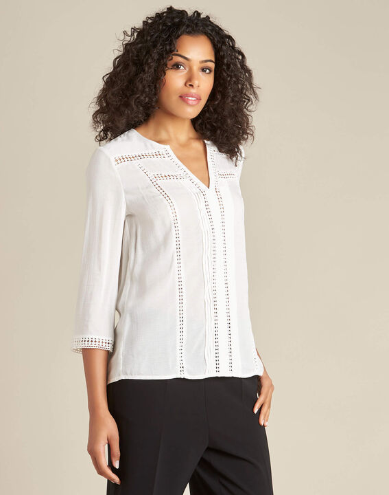 Graziella white blouse with guipure detailing (3) - 1-2-3