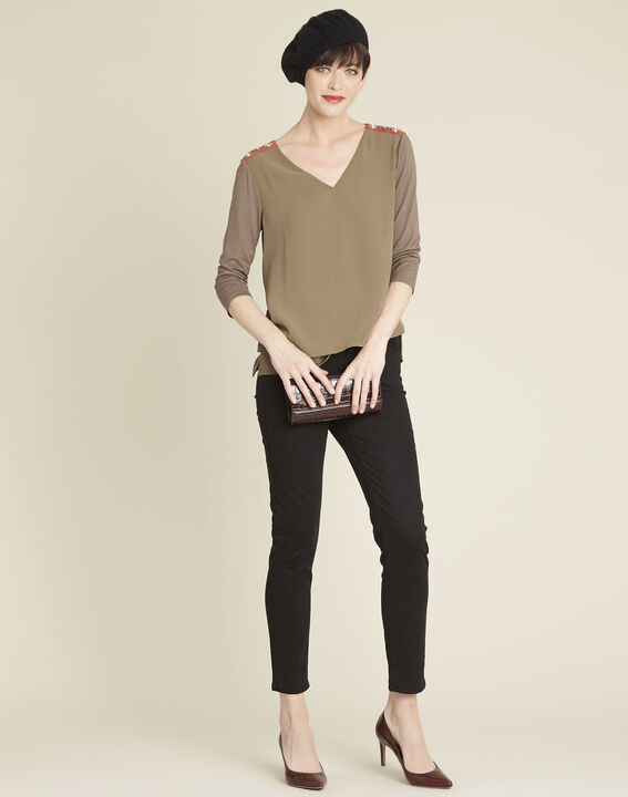 Coralie bi-material khaki blouse with jewel detailing on the shoulders (2) - 1-2-3