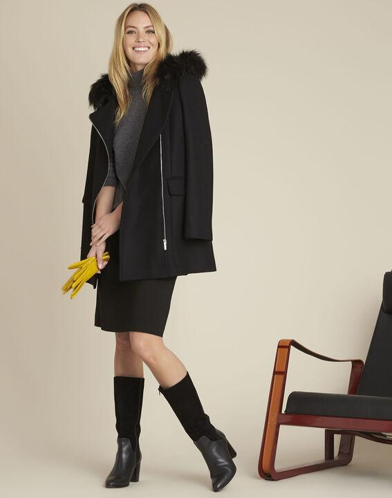 Black A-line viscose-blend skirt (2) - 1-2-3